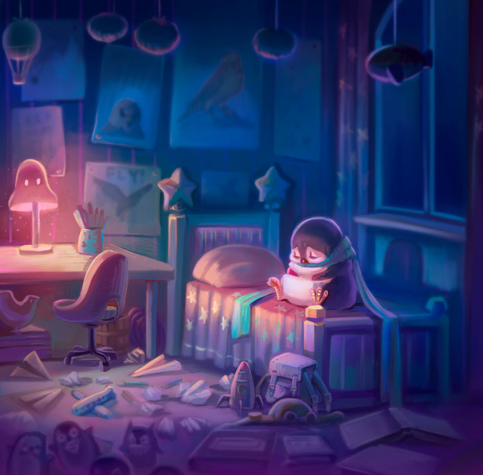Pinguin with a big dream illustration story