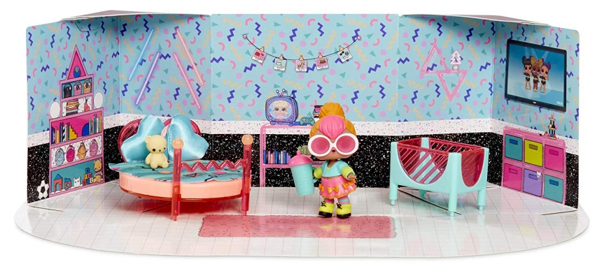 LOL Surprise furniture set Surprise Spaces Pack with Bedroom and Neon Q.T doll