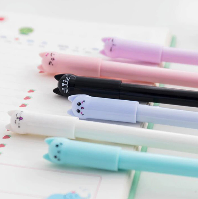 Cute pens with cat faces