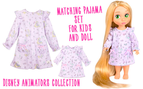 Disney Animators' Collection Ariel and Rapunzel Matching Pajama Set for Kids and Doll