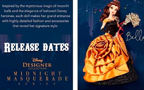 Limited Edition Disney Designer Collection Midnight Masquerade dolls release date for Cinderella, Belle, Meg, Rapunzel and Aurora