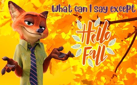 Hello Fall images with cartoon characters