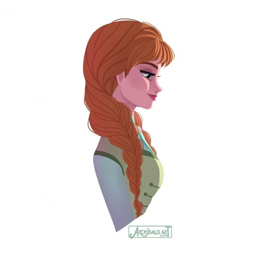 Princess Anna portrait in profile Disney Frozen