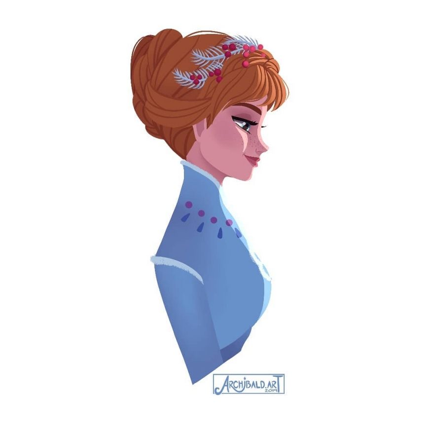 Princess Anna portrait in profile Disney Olaf Frozen Adventure