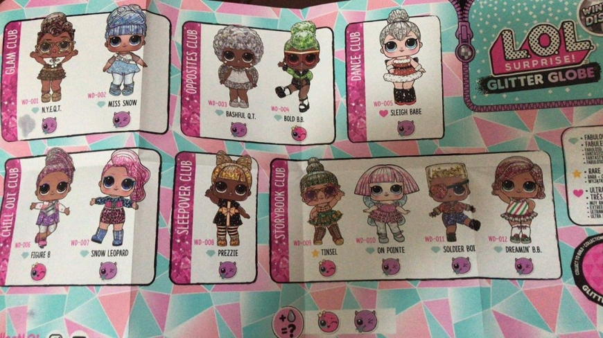 LOL Surprise Glitter Globe doll's chracter list