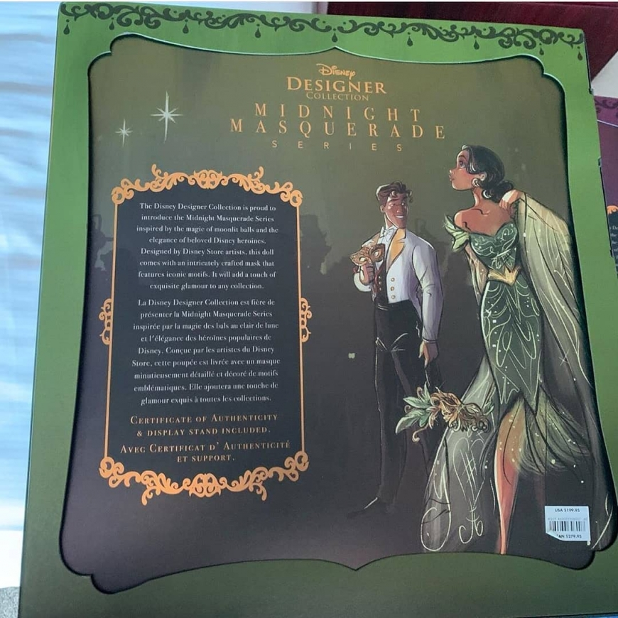 Disney Designer Midnight Masquerade Series Tiana and Naveen dolls box art