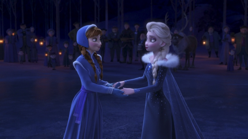 Anna and Elsa holding hands in Olaf's Frozen Adventure image