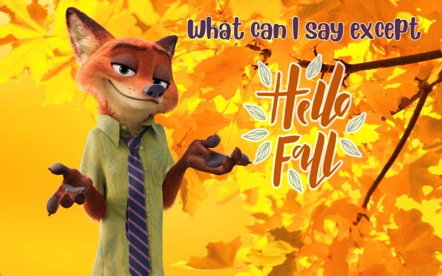 Hello Fall image with Nick Wild from Zootopia