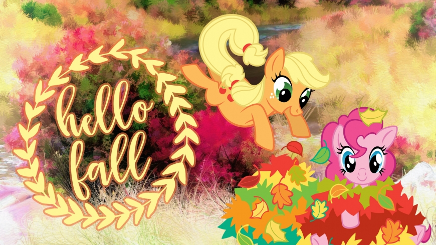 Hello Fall image with Applejack and Pinkie Pie from My Little Pony series