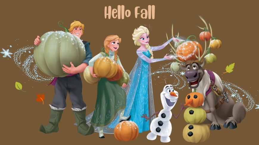 Hello Fall image with Elsa, Anna, Kristoff, Swen and Olaf from Frozen