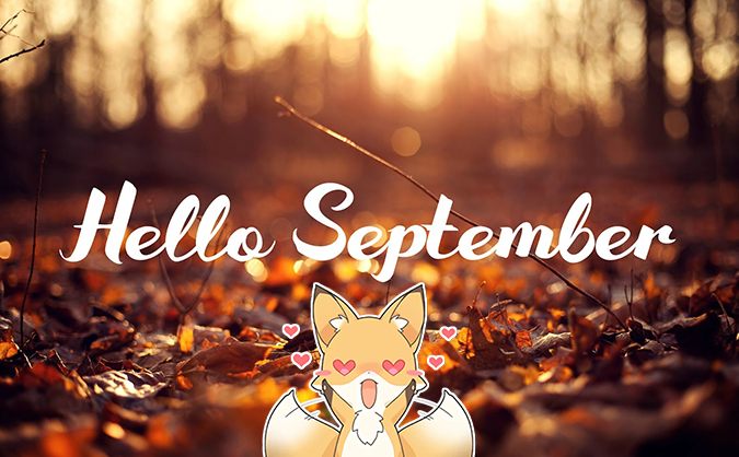 Hello september cute image with fox