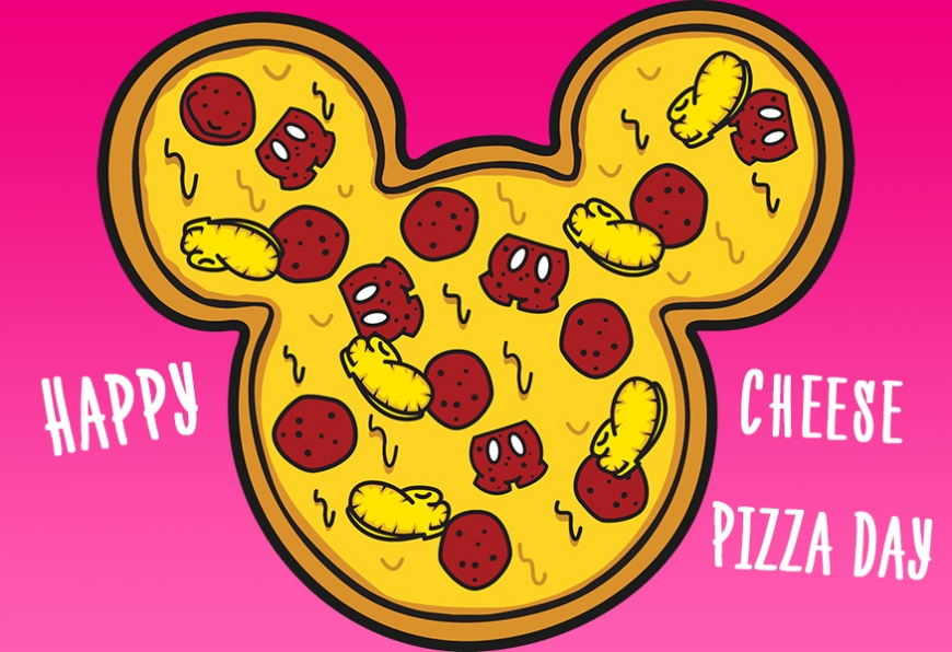 Happy Cheese Pizza Day with Mikkey Mouse silhouette image