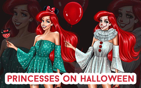 The artist changed the images of Disney princesses and added Halloween horror to them