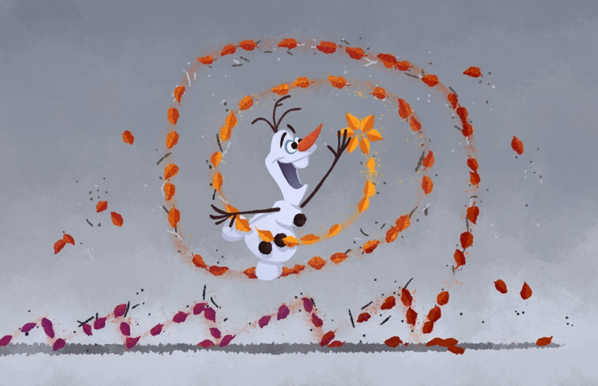 Olaf with floating leaves