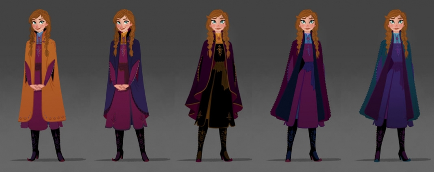 Concept art of Anna's travel outfir in Frozen 2