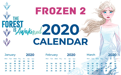 Frozen 2 printable calendars 2020