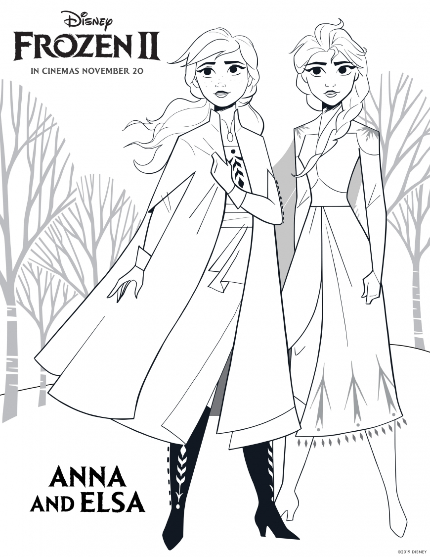 Frozen 2 coloring page Elsa and Anna