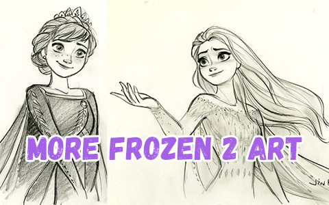 New Frozen 2 art with Elsa and Anna final look, and other main characters of the movie