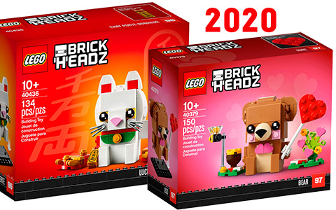Upcoming Seasonal LEGO Brickheadz 2020: Lucky Cat, Valentine's Day Bear, Bride, Groom