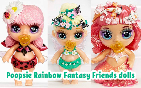 Images of all Poopsie Rainbow Fantasy Friends Series 1 dolls