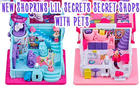 New Shopkins Lil Secrets Secret Shops season 4 toys with pets: Lovely Llama Style Salon, Cutie Cat Cafe, Penguin Slushie Stop, and the Funny Bun Bakery