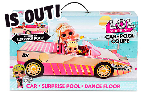 LOL Surprise Car-Pool Coupe with Drag Racer doll and black lights headlights is out! Take a look at promo images