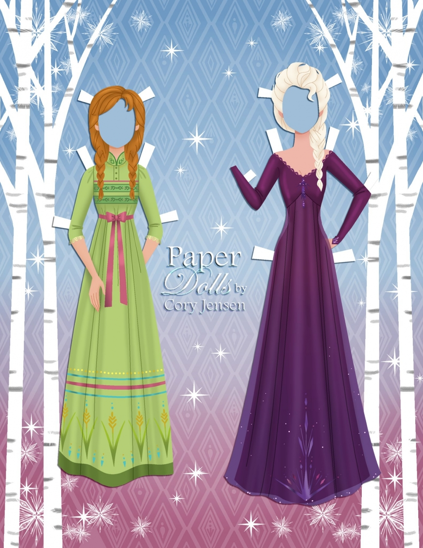 Frozen 2 paper dolls Elsa and Anna with clothing and hairstyles