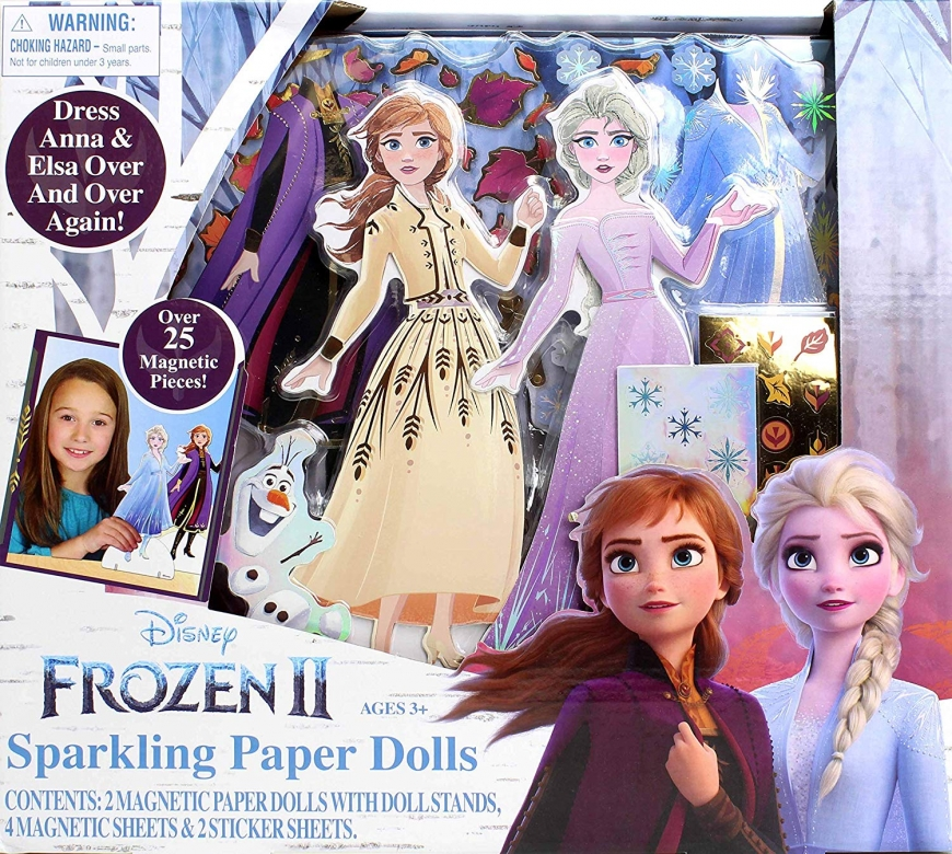 Frozen 2 Elsa and Anna paper dolls with clothing and dresses from the movie