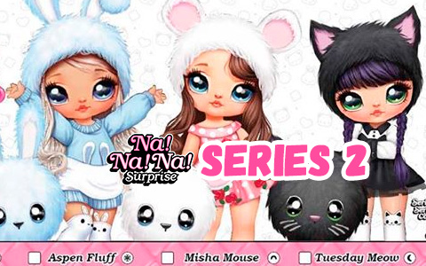 In Na Na Na Surprise series 2 you will find Mouse and Cat girls, and new cute blue bunny girl