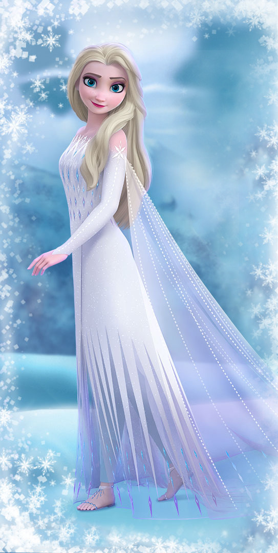 Frozen 2 Elsa in white dress with hair down new official big images