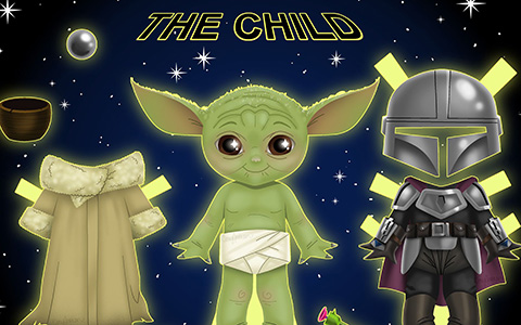 Mandalorian Baby Yoda paper doll - download and print now for free