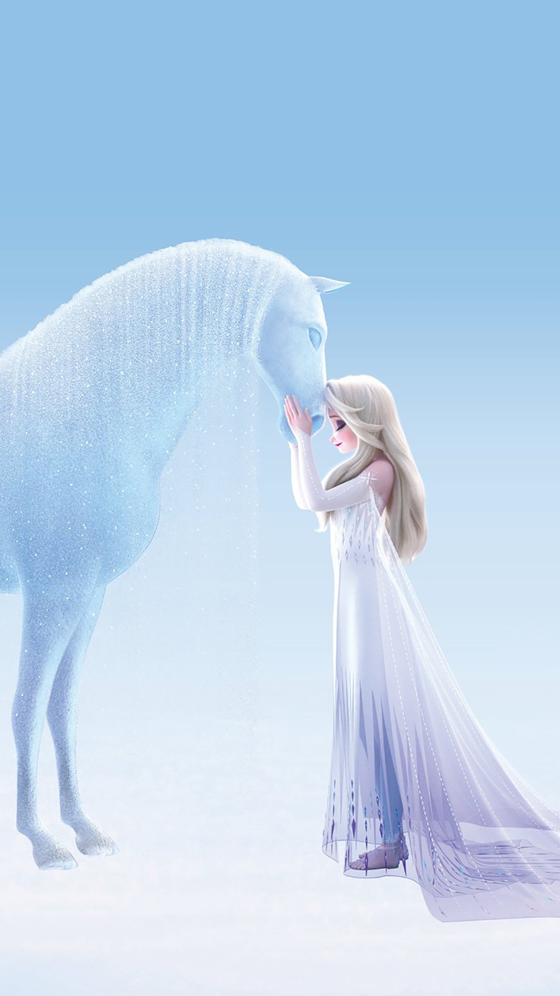New image of Elsa in white dress shows details of frozen version of the water spirit - horse Nokk