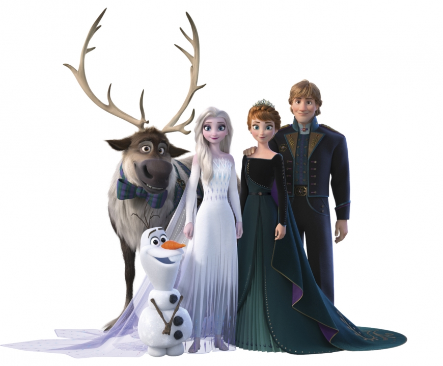 Frozen 2 Anna queen of Arendelle and Elsa as Snow Queen family portrait