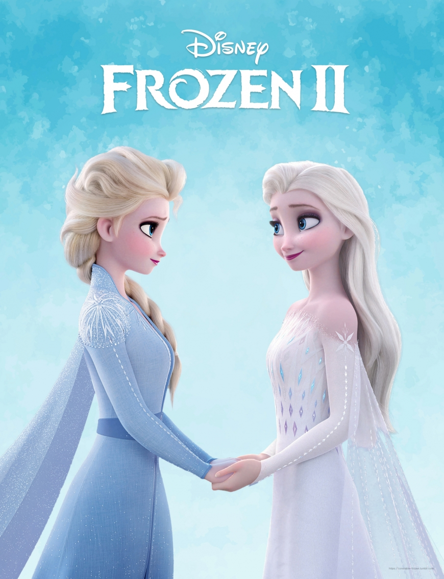 Frozen 2 picture of Elsa in white dress holding hands with Elsa from the beggining of the movie