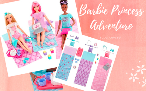 Barbie Princess Adventure Sleepover set with 3 dolls images