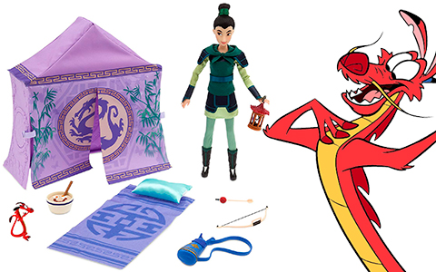 New Disney Store Mulan warrior doll campsite set with Mushu, Cri-Kee in cage, breakfast bowl accessories