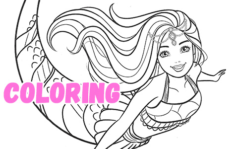 Beautiful mermaid Barbie coloring pages
