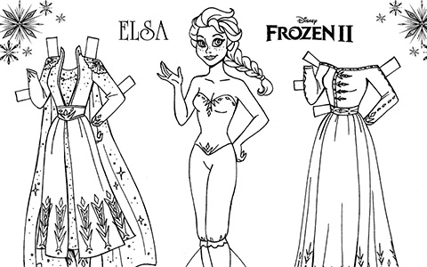 Frozen 2 coloring paper dolls of Elsa and Anna