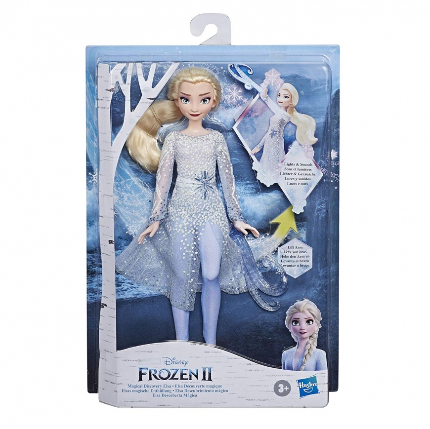 Frozen 2 Magical Discovery Elsa Doll with Lights and Sounds, elsa with ponytail barefoot