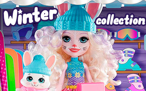 Enchantimals Snowy Walley 2020 winter themed dolls: Hoppin' Ski Chalet, Fishing Friends, Polar Bear, Rainey Reindeer, Penguin Ice Dancers, Hawna Husky and more