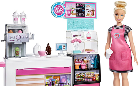 Barbie Coffee Shop playset 2020 in detail