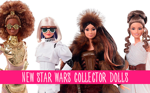 Barbie Star Wars Signature 2020 four new collector dolls: Rey, Stormtrooper, C3PO and Chewbacca