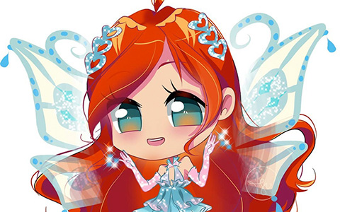Super cute Winx chibi Bloom in season 3 outfits including Enchantix transformation