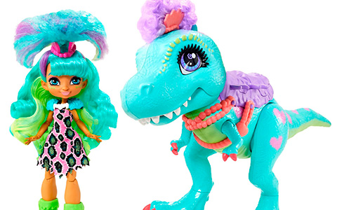 Cave Club Rockelle and Tyrasaurus doll promo photos