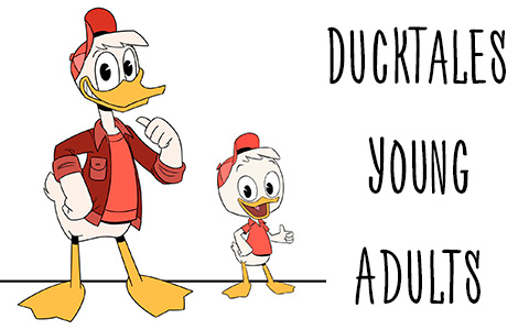 Pictures of grownups Huey, Dewey, Louie and Webby from new DuckTales