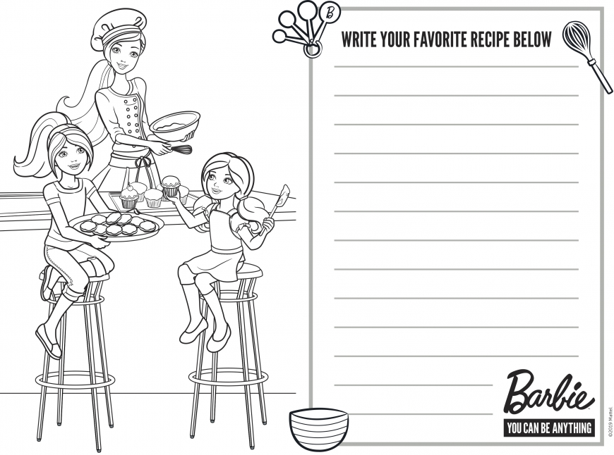 Coloring pages with Barbie and sisters and place for favorite recipe