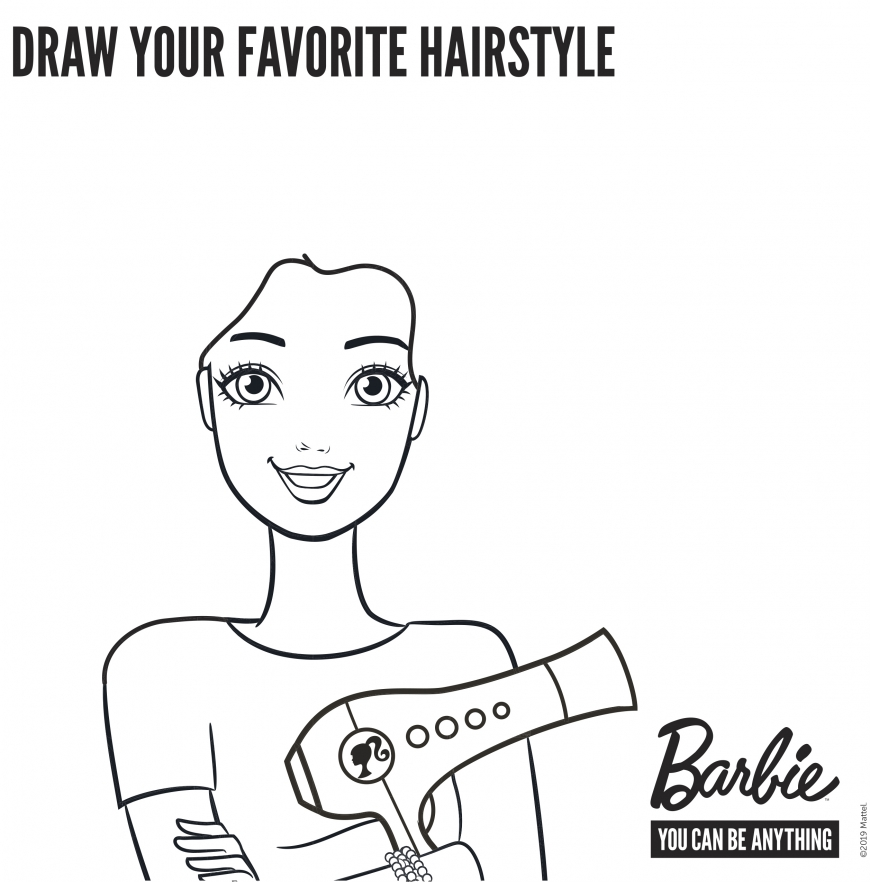 Draw a hairstyle for Barbie