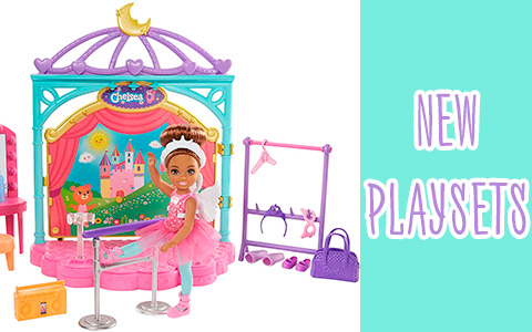 Barbie Club Chelsea dolls Ballet and Snack Cart playsets