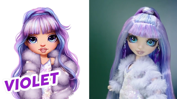 Violet Willow Rainbow High doll with art