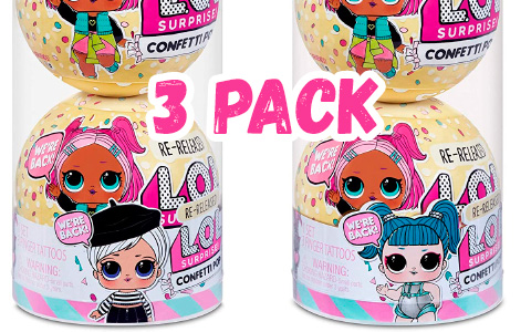 LOL Surprise Confetti Pop 3 pack re-release: Beatnik Babe, Glamstronaut, Showbaby and Waves
